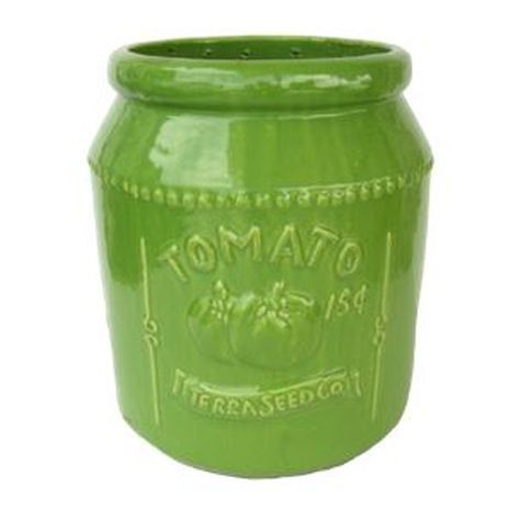 Vintage Pottery Green 11 Inch Tomato Seed Packet Planter