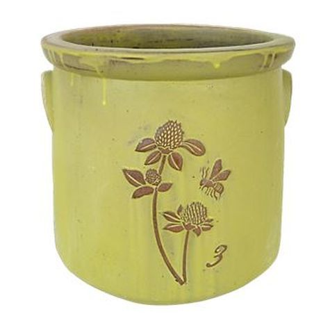 Vintage Pottery Rustic Yellow 11 Inch Heirloom Bee Crock Planter