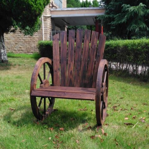 Wagon Wheel Wood Patio Chair