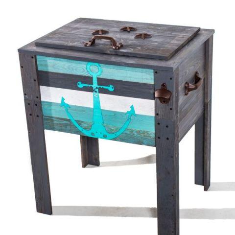 Wooden Grey Anchor Design Outdoor Patio Cooler