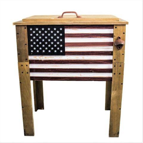 Wooden American Flag Outdoor Patio Cooler