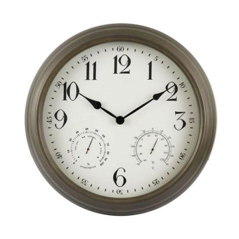 Weather Monitoring Indoor / Outdoor Bronze Colored 16 Inch Wall Clock