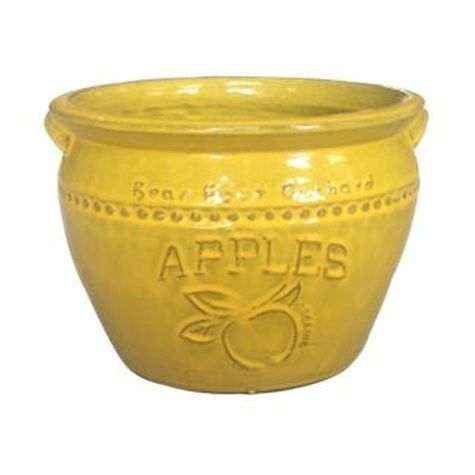 Vintage Pottery Yellow 14 Inch Apple Planter
