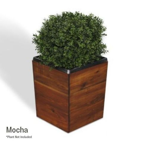 17 Inch Square Tapered Wooden Planter - Mocha