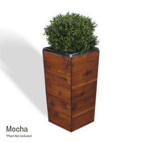 28 Inch Square Tapered Wooden Planter - Mocha