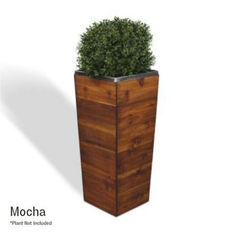33 Inch Square Tapered Wooden Planter - Mocha