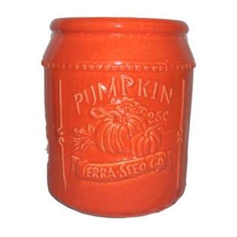 Vintage Pottery Orange 11 Inch Pumpkin Seed Packet Planter