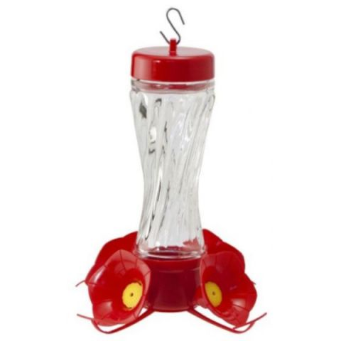 Woodlink Swirl Glass Bottle Hummingbird Feeder